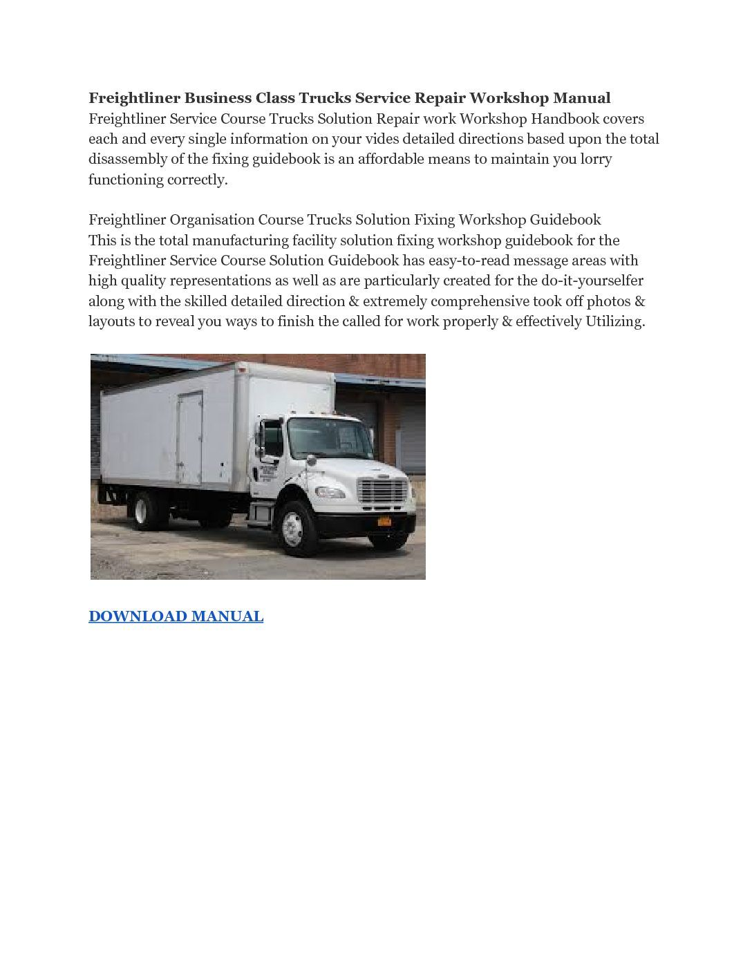 Freightliner Business Class Trucks Service Repair Workshop Manual