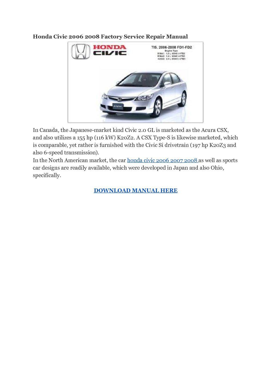 Honda Civic 1.6 Manuals - Car Workshop Manuals