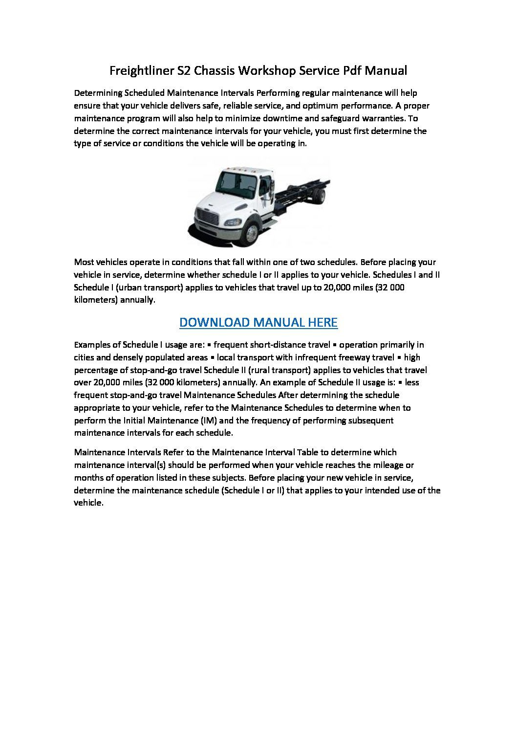 Freightliner S2 Chassis Workshop Service Pdf Manual